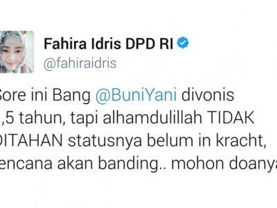 Fahira Idris Dukung Buni Yani dan Tim Kuasa Hukum Ajukan Banding