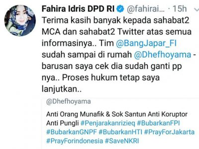 Fahira Idris Muslim Cyber Army Telusuri Jejak Digital @dhefhoyama