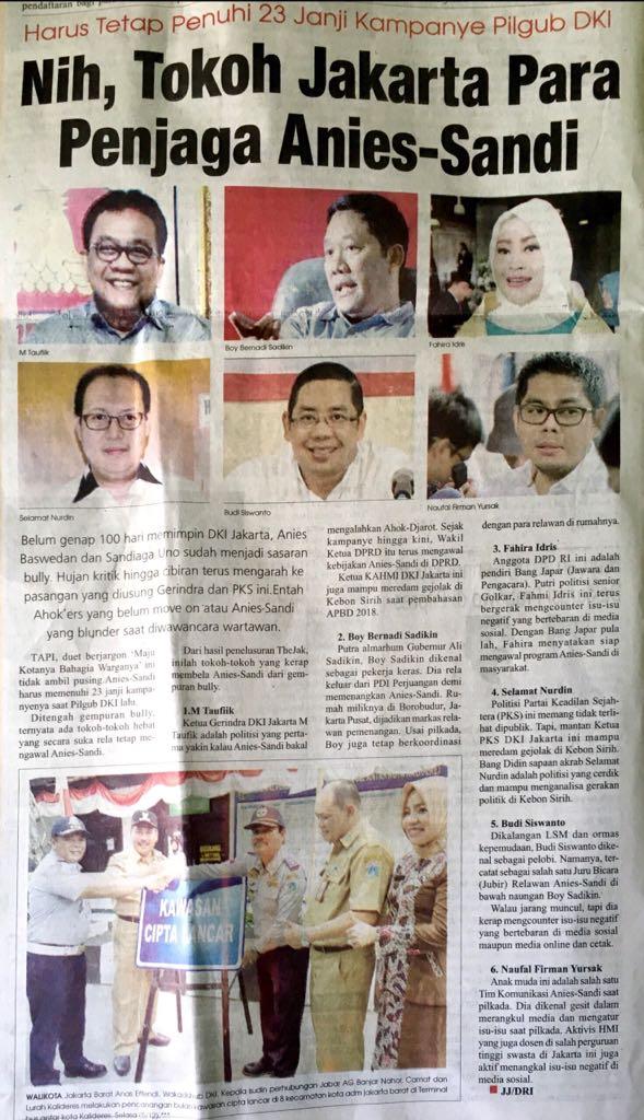 Fahira Idris Salah Satu Tokoh Jakarta Penjaga Anies-Sandi Versi Thejak