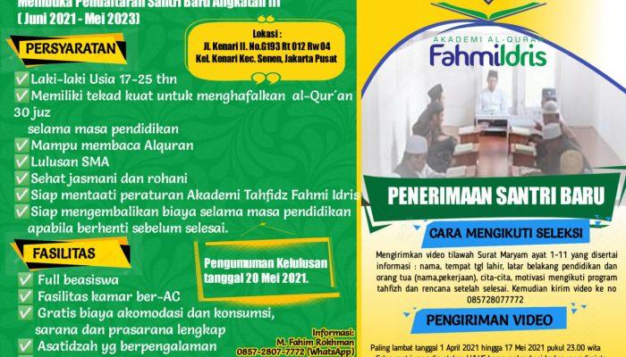 Pendaftaran Akademi Al-Qur'an Fahmi Idris Angkatan III